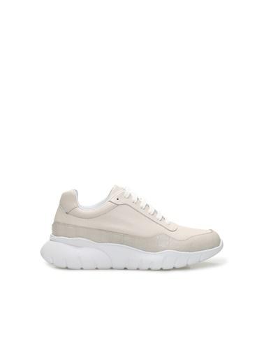 Divarese 5024437 Kroko Doku Detaylı Kadın Deri Sneaker Bej